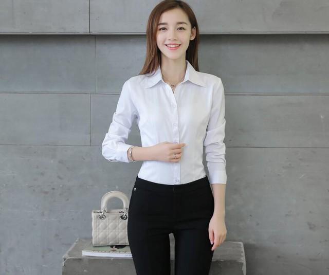 ワイシャツ ノーアイロン スーツシャツ レディース ベーシック Vネック Yシャツ 仕事着 長袖 ワイシャツ 形態安定 ビジネス 開襟yシャツ