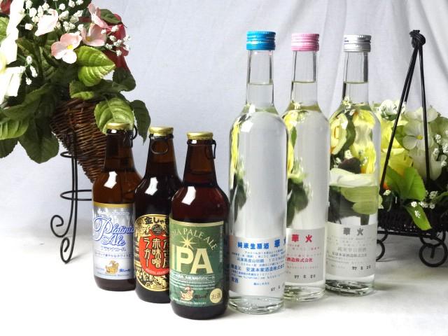 送料無料福袋!地ビール・日本酒セット1(金しゃち330ml×3本・華火500ml×3本)