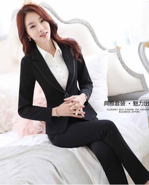 美品2点セット/オフィスパンツ+スーツ/レディース長袖スーツ/就活 ビジネススーツ制服/大きいサイズあり OL通勤/卒業式スーツS~3XL