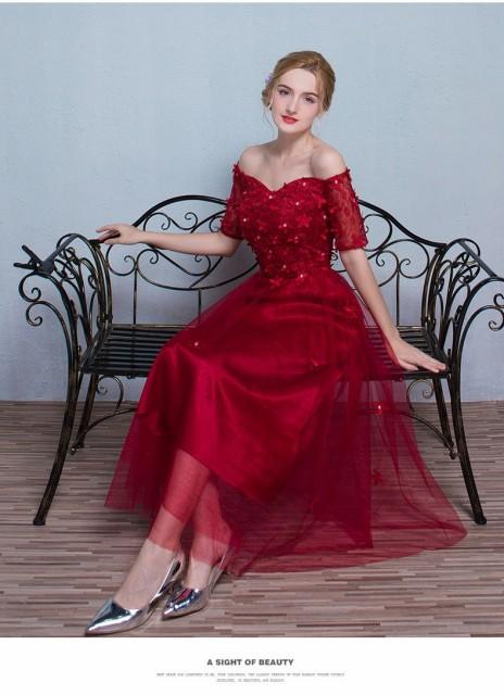 赤パーティドレス/ノースリーブ/ドレス二次会/ウェディングドレス/花嫁/結婚式/披露宴/ロングワンピース/カラードレスの通販はWowma!