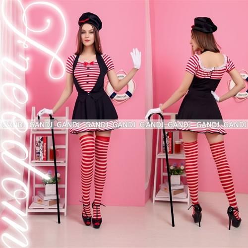 78d2f16a52680 マジシャン 手品 アイドル コスプレ 衣装 激安 セール☆赤白ボーダー柄のキュートマジシャン☆
