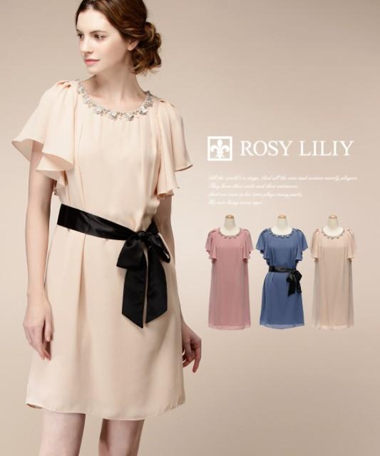 2991af20d971f  ROSY LILIY シフォンジョーゼットサックドレス パーティードレス 大きいサイズ 袖付き