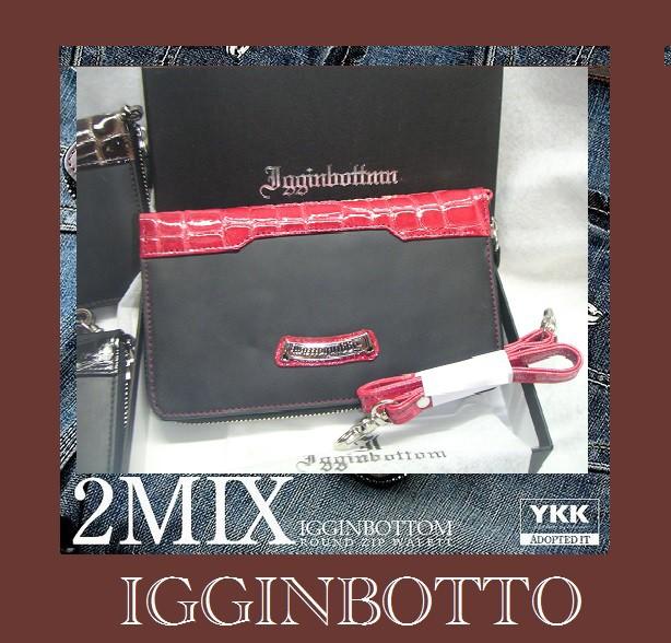 IGGINBOTTOM/イギンボトム牛革エナメルコロコ型押しコンビラウンドウォレット
