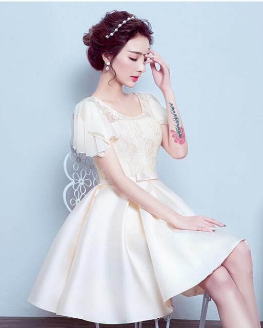 d6e23a3fae145 編み上げ ワンピース☆ショート 二次会 ミニウェディングドレス パーティードレス 花嫁