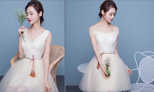 61e2ac85bfecc 大人気 ショート ドレス二次会 ミニウェディングドレス パーティードレス ...