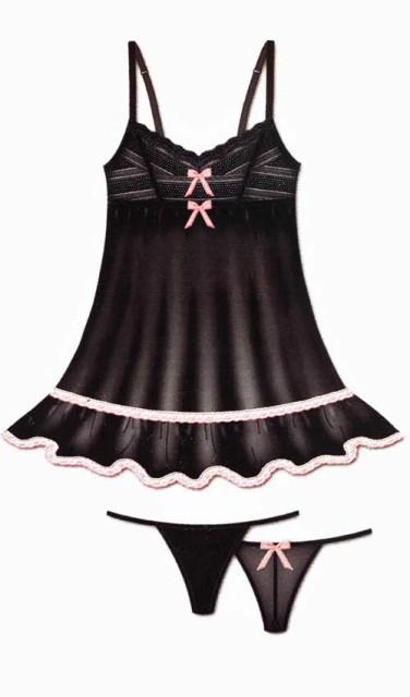 【ReneRofe】黒/ベビーピンク レース付 シースルー セクシーベビードール&Gストリングショーツ 2点セット OS