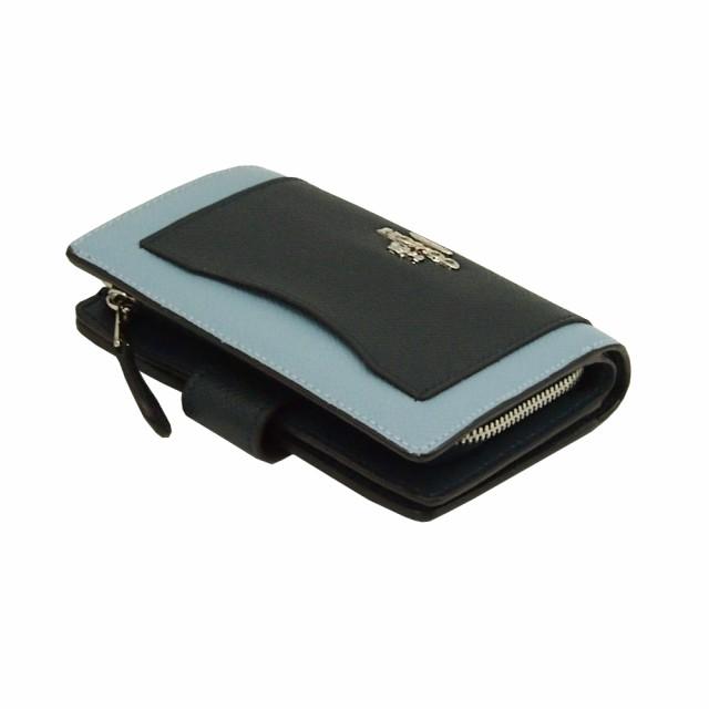 コーチ COACH 二つ折り財布 F57322 ミッドナイト×ブルー ラグジュアリー カラーブロック シグネチャー レザー アウトレット