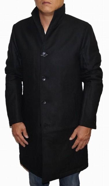 冬物 コムサイズム COMME CA ISM 中綿入り 防寒 ブラック シングル メンズ コート スタンドカラー ウール 立ち襟 黒