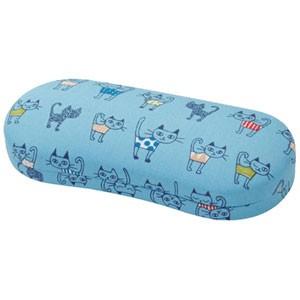 ◆メガネケース【ネコ 猫】日本製生地 ブルー 092371 JT-73
