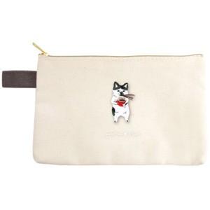 ◆ポケファス×プラスト■Pokefasu 刺繍【フラットケース ネコじた】猫 ポーチ 小物入れ 4423-040