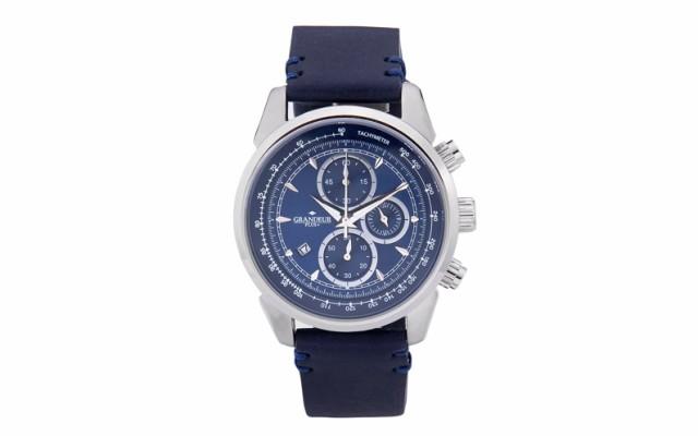 【福袋セール】 ≪ 安心の日本製 ≫[GRANDEUR PLUS]紳士用 クロノグラフ 腕時計 最高級イタリアンレザーベルト GRP-001-w2【送料無料】, ハッピーフィール f3d7480a