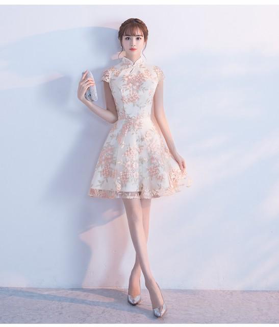 36236ac59090b 超可愛い 復古 チャイナドレス風 パーティドレス ミニドレス ワンピース ショート 結婚式 二次会 発表