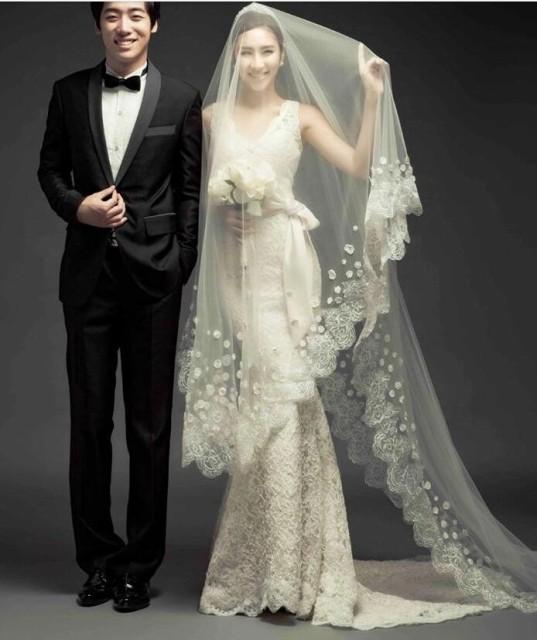 豪華 トレーン ウェディングドレス 綺麗レース マキシ丈 マーメイドドレス 花嫁ドレス トレーンドレス エンパイアドレス 写真撮影 結婚式