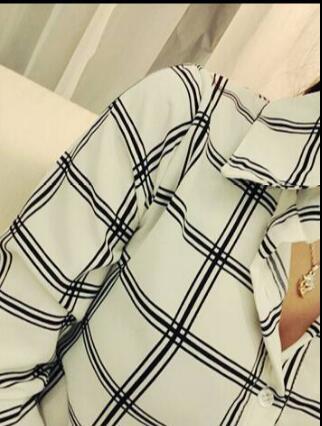 春夏レディース長袖シャツ半袖ブラウス OL通勤カジュアルシャツ女性リラックス オフィス チェック柄オフィス修身シフォンブラウス通学