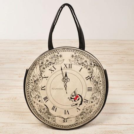 即納セール「アンティークな時計のトートバッグ 丸型(全3色)」 sa ad 2646969 8800円で代引料無料