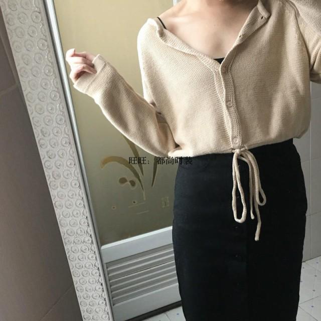 ニット カーディガン 丸首 ラウンドネック 羽織り ショート丈 長袖 セーター