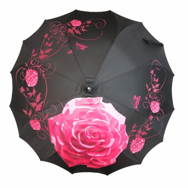 《60cm》薔薇柄 レディース 傘 長傘 雨傘 ジャンプ傘 かわいい おしゃれ ワンタッチ バラ 花柄