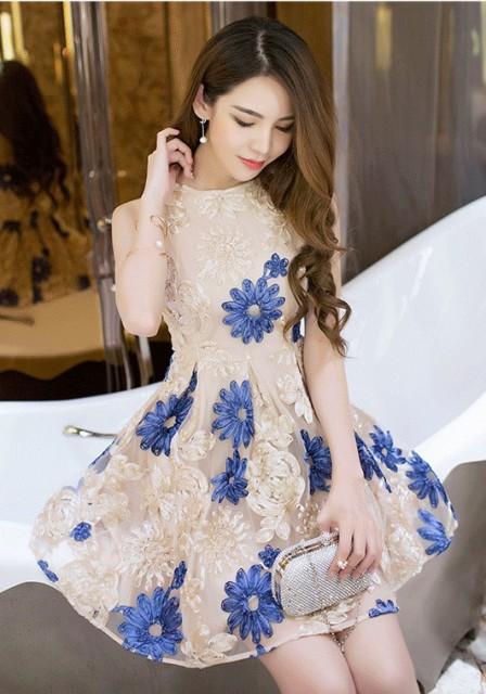 韓国ワンピース 花柄 フラワー パーティードレス ノースリーブ ショート丈 ミニ丈