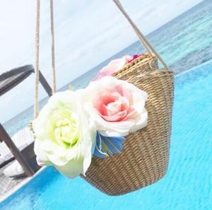 ミニ カゴ バッグ ポシェット キッズ 海 プール 花 コサージュ 小ぶり レディース プチプラ