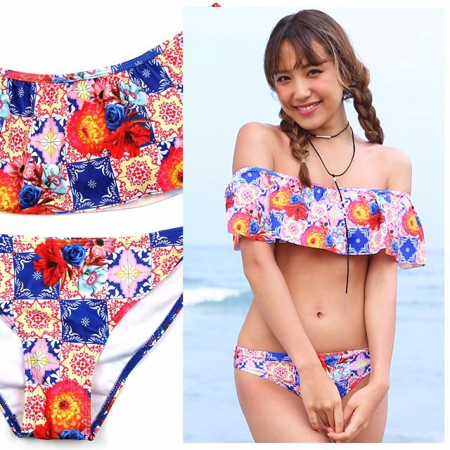 水着 レディース 体型カバー ビキニ オフショル フリル 花柄 フラワー ピンク ブルー プール 海 ビーチ
