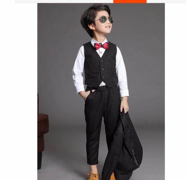 cd172378835d4 薄手結婚式 長袖スーツ+パンツ+ベストフォーマル子供服 男の子スーツ発表 ...
