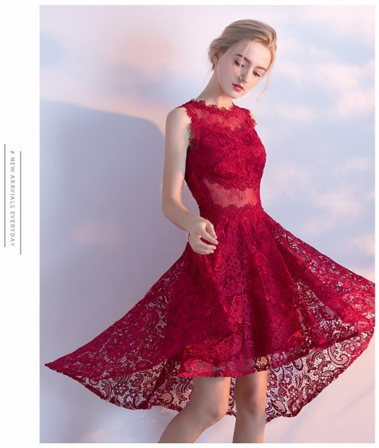 レースパーティードレス 結婚式 ドレス 袖なしミニドレス ワンピースレディース 二次会ドレス 成人式 忘年会 披露宴 お呼ばれドレス