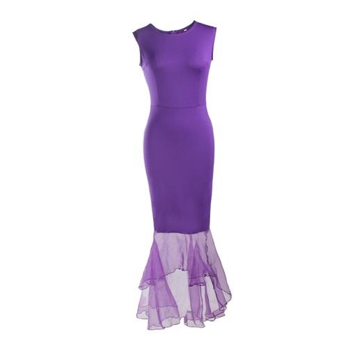 大きなサイズ!カラバリー豊富な裾チュールデザイン ストレッチロングドレス(黒赤青紫 longer longstre longfure bigdre b-lo