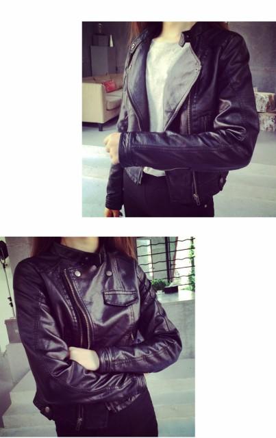 レディス服 女性 アウター コート 上着 ジャケット オーバー スタジャン ファッション 韓国風 ショート丈 細身 本革風 詰襟 丸首