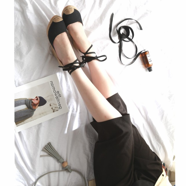 ウェッジソールサンダルレースアップリボンで存在感を発揮♪安定のオシャレアイテム!7.5cmヒール/靴/春夏/レディース