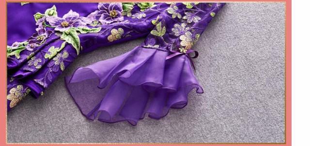 夏人気新作 エレガント ショート丈 フェミニン ミニドレス パーティードレス 刺繍 披露宴 二次会 ワンピース 紫 ファスナー ファション
