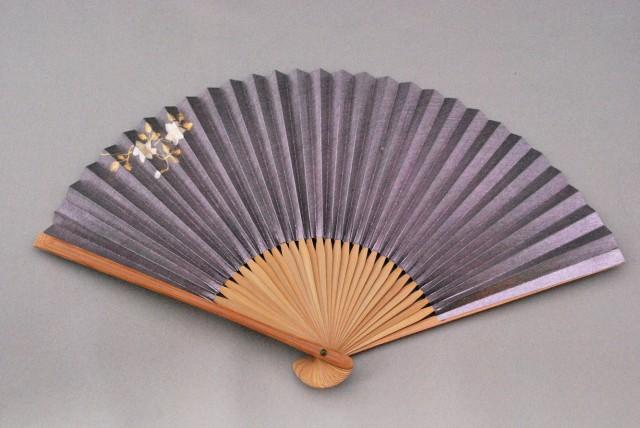 京風庵大むら 左利き婦人用手描き高級和紙扇子(藤) 鉄線