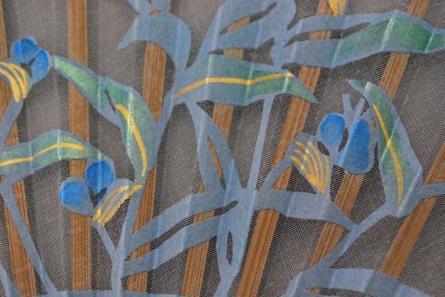 京風庵大むら 婦人用京扇子 七寸和紙切り絵貼り絹扇子 つゆ草(ブルー)
