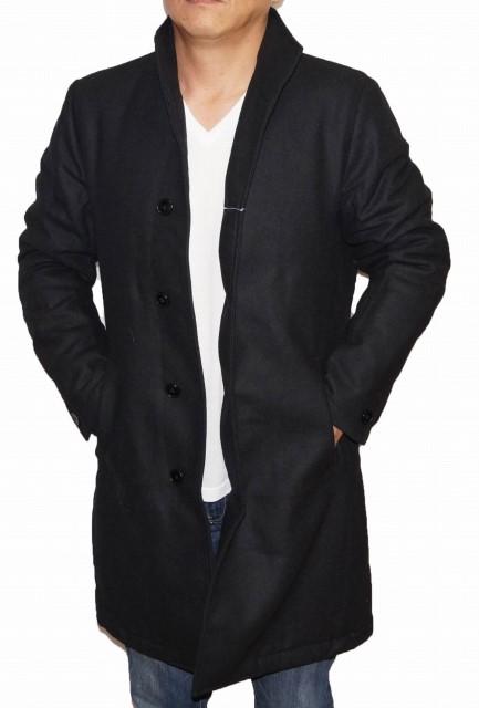 スタンドカラー 防寒 コート 黒 ブラック 冬物 コムサイズム シングル 中綿入り 立ち襟 メンズ COMME CA ISM ウール
