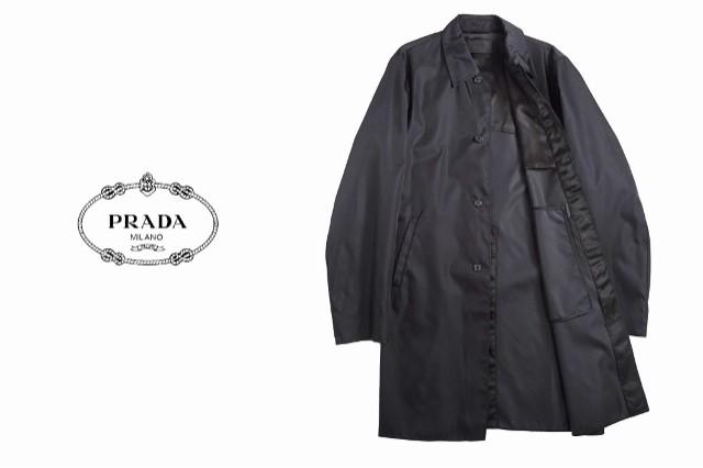 PRADA スーツの上に伊製シャカシャカコート GABARDINE★ブラック