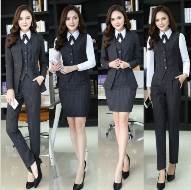 スーツ オフィス 就活ビジネス リクルート 3点セット 入園長袖スーツ+長パンツ+長袖シャツ美容師 大きいサイズ ストライプ