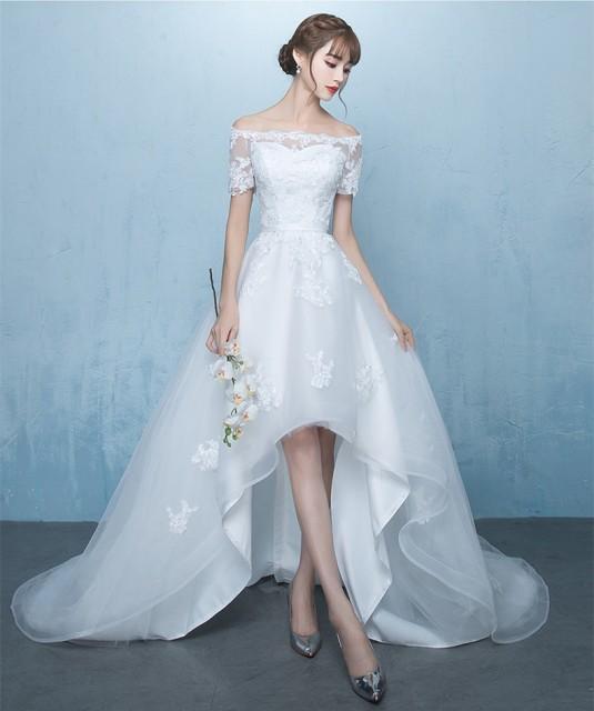 高品質☆ウェディングドレス ミニ丈ウェディングドレス オフショルダー トレーン 体型カバー ♪結婚式 パーティー 宴会 撮影  H068の通販はWowma!