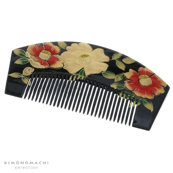 【あす着対応】 塗り くし「黒色 椿」振袖髪飾り 前櫛 日本髪 成人式の振袖に
