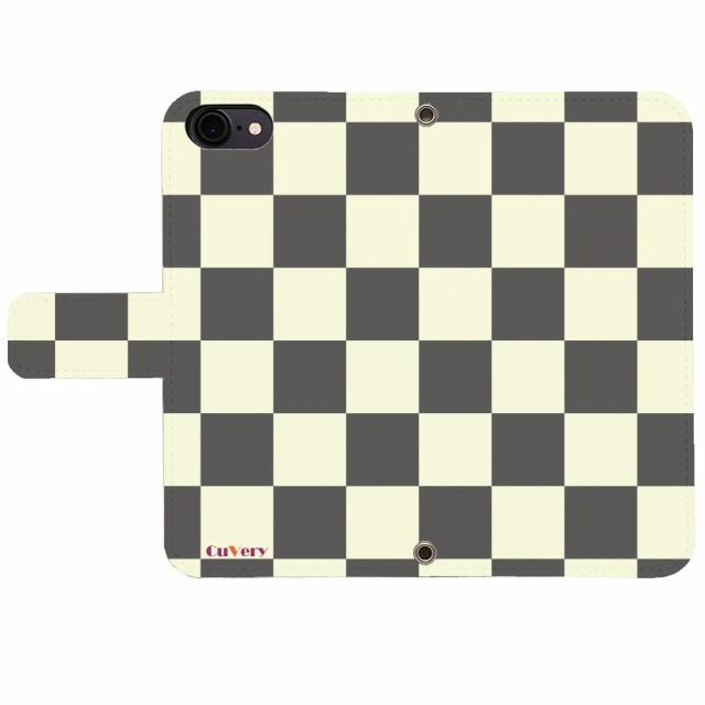 iPhone SE iPhone5/5s iPhone6/6s iPhone7 iPhone8 アイフォン 手帳型 CuVery ブロックチェック ライトイエローグレー 【】