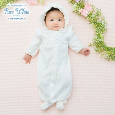 d9c1c81b22fd0 ベビー服 赤ちゃん 服 ベビー ツーウェイオール 男の子 女の子 お宮参り  ピュアホワイト 帽子付き