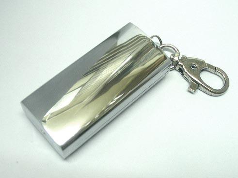 送料220円~アルミダイキャスト携帯灰皿キーホルダー付き(アルミミガキ)*若干燻し加工