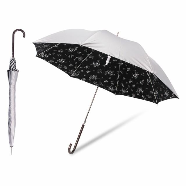 【送料無料】日傘 晴雨兼用 UVカット99%以上 遮光率99%以上 UPF50+ 遮熱効果 シルバー レディース 花柄
