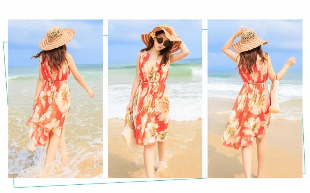 ビーチワンピース ミドル丈 ミディアム 旅行ドレス 花柄 シフォンワンピ プリント ゆったり フレア ボヘミア風 大きいサイズ