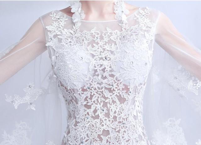 ウエディングドレス トレーン マーメイドライン ロングドレス トレンド パーティードレス エレガント 結婚式 花嫁 披露宴 編み上げ
