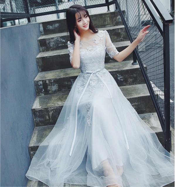 ミモレ丈 Aライン フォーマル ブライズメイドドレス/パーティードレス結婚式二次会卒業式 花嫁の介添え着痩せ/イブニング 銀灰色