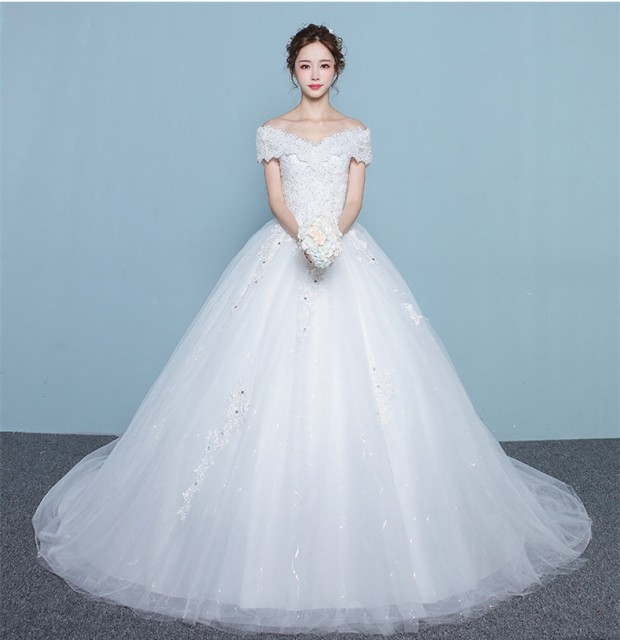 体型カバー ウェディングドレス トレーン オフショルダー 結婚式 披露宴 オーダーサイズ可 お得ベール,パニエ,グローブ3点セット付 H019 au  Wowma!(ワウマ)