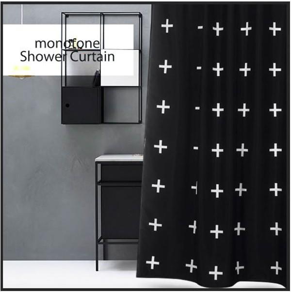 シャワーカーテン バスルーム インテリア雑貨 間仕切り モノトーン 黒 ブラック モノクロ クロス柄 オシャレ 防カビ 北欧 bath-sc0009