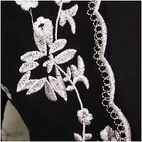 和風ボヘミアン刺繍 花柄 五分丈袖 マキシワンピース TYK0024
