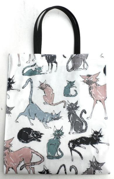 サブバッグ トート 猫柄 トートバッグ a4 猫 グッズ 雑貨 イラストキャット 手提げバッグ ビニールコーティング
