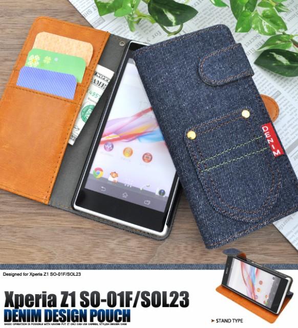 373d144955 Xperia Z1(SO-01F/SOL23) 手帳型(横開き)デニムデザイン ケース ドコモ ...