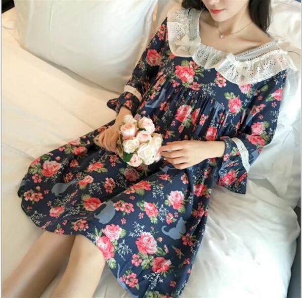 寝間着 レディース 女性用 パジャマ 淑やか 部屋着 可愛い フラワー姫系 ネグリジェ7分袖ワンピ パジャマ ナイトウエア ルームウエア